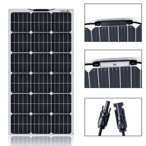 Solar Panel Kit 100W 200W 300W 400W  Flexible Cell For 12V 24V Battery Car RV Home Outdoor Power Charging