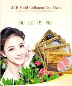 20Packs 24K Gold Crystal Collagen Eye Mask Patch Pad Moisturizing Anti Aging Puffiness Dark Circle Remover Eye Bags Skin Care