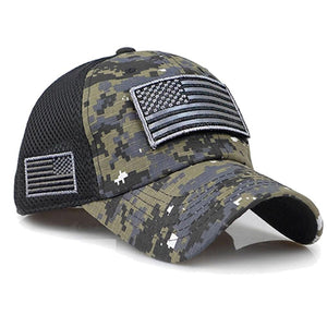 Tactical Camouflage Baseball Caps Mesh Military Army Caps USA Flag Patches