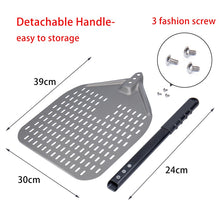 Hard Anodized Aluminum Pizza Shovel Adjustable Pizza Peel Perforated Turning Pastry Baking Paddle With Removable Handle