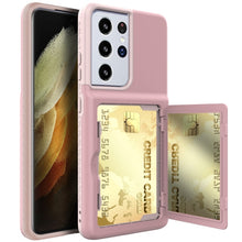 Armor Slide Card Case For Samsung Galaxy S21 Ultra Plus Card Slot Wallet Make Up Mirror Back Cover