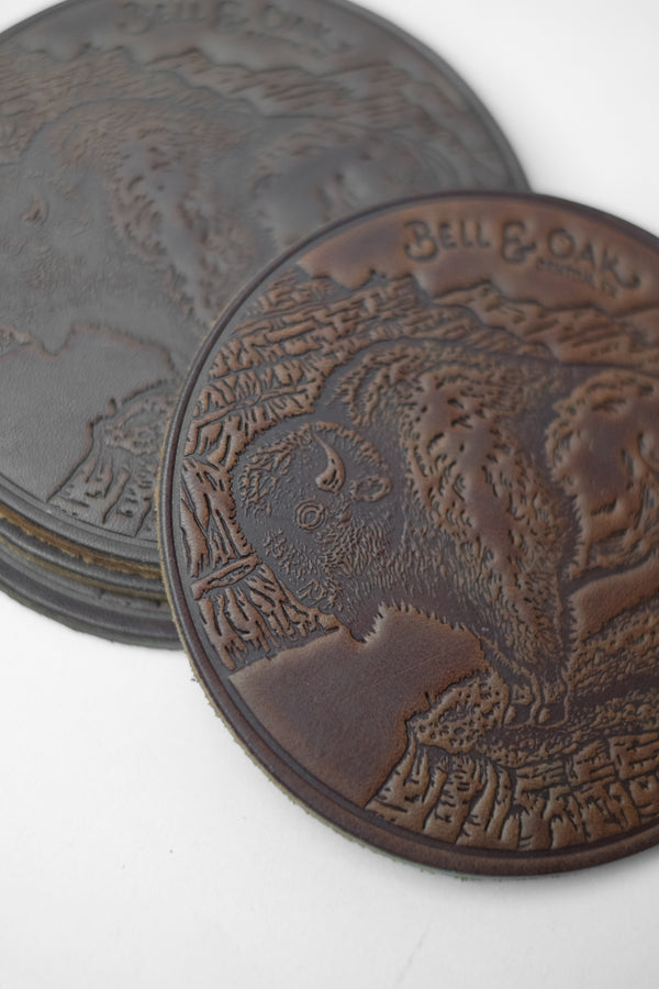 Sam Larson Bison Leather Coaster Set detail