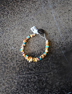 "7 3/4"" Yellow Spiny Oyster & Sleeping Beauty Turquoise Bracelet"