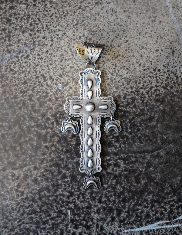 Antique Sterling Silver Cross & Moon Dangles Pendant