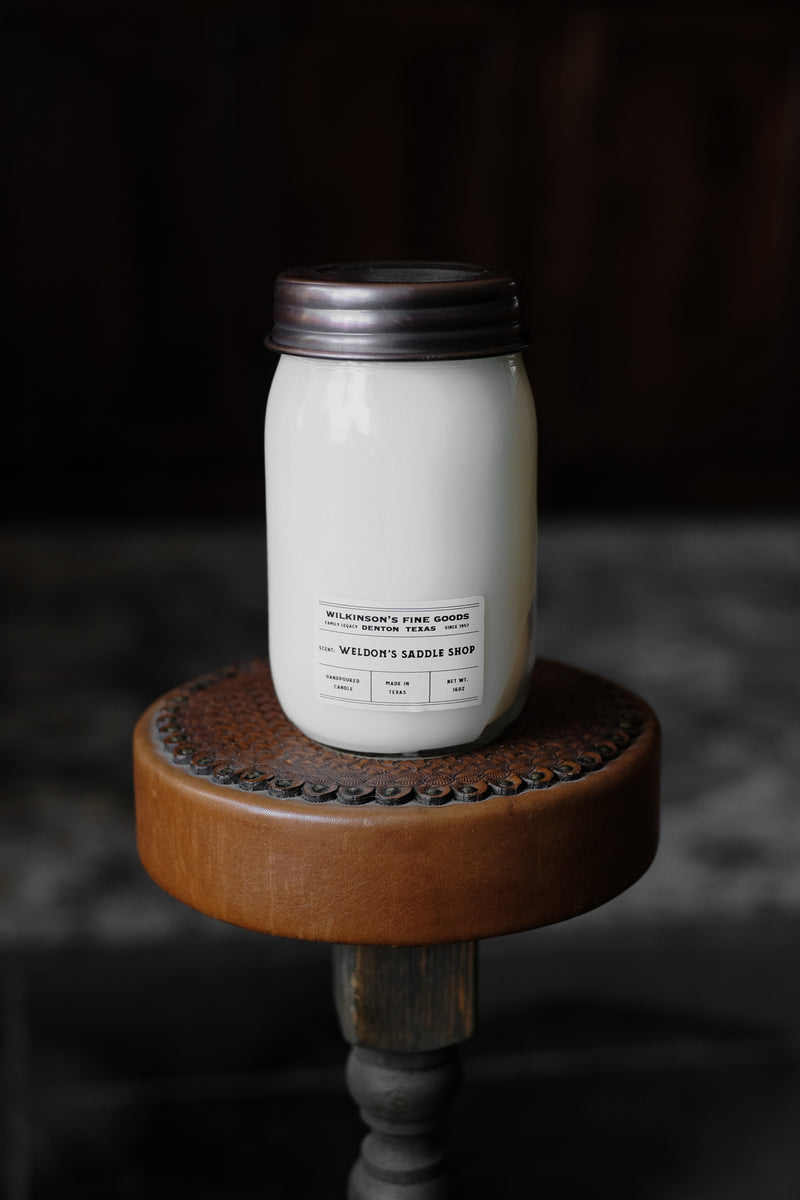 Hand Poured Candle | Scent: Weldon's Saddle Shop