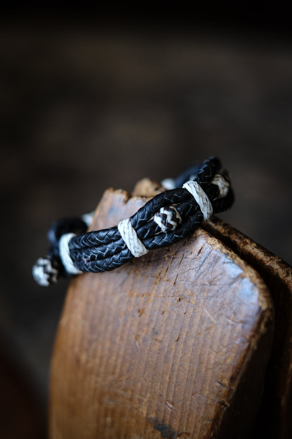 8 Plait Braided Bracelet With Rawhide Knots - Black Kangaroo Lace