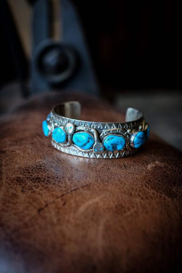 Sterling Silver + Turquoise Snake Cuff 01 - Jude Candelaria