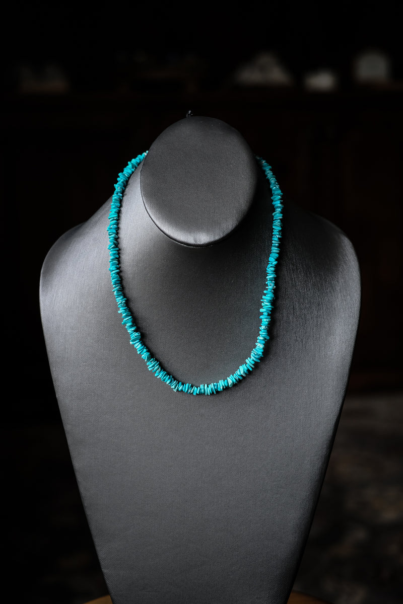 "18.25 - 20.5"" Sleeping Beauty Turquoise  + Sterling Silver"
