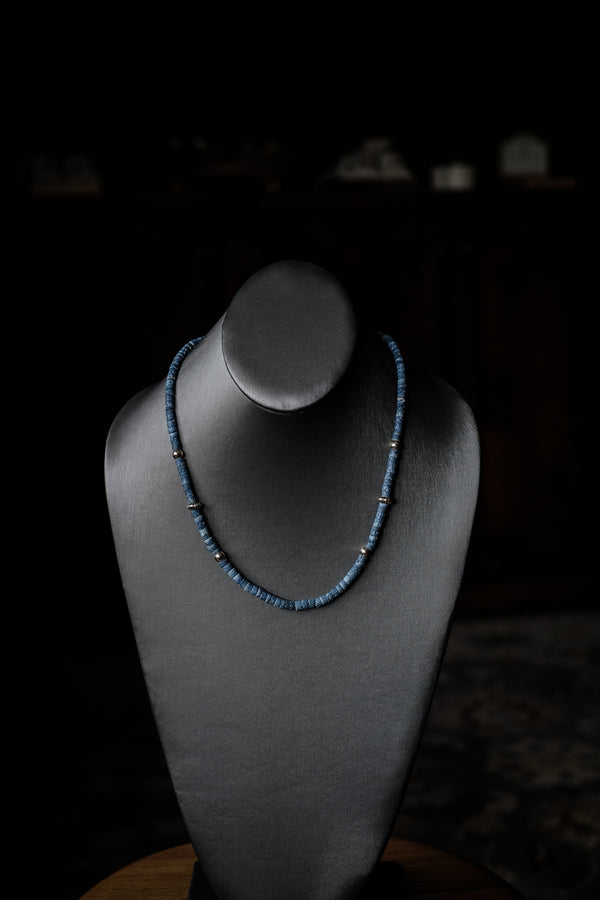 "19.5 - 21.5"" Blue Denim Coral + Sterling Silver Necklace"