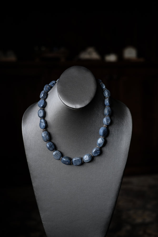 "19.5"" Blue Denim Coral + Sterling Silver Necklace"