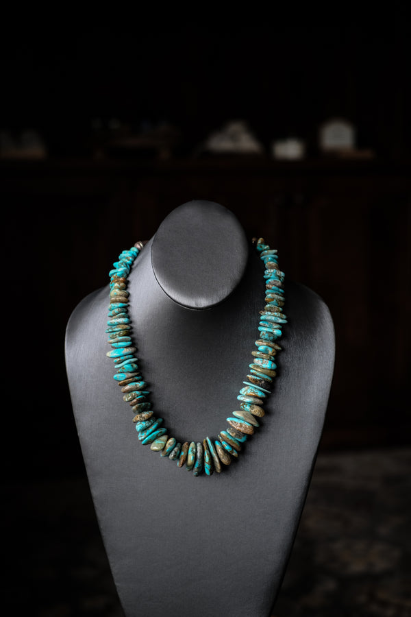 "20 - 23.75"" Kingman Turquoise + Sterling Silver Necklace"