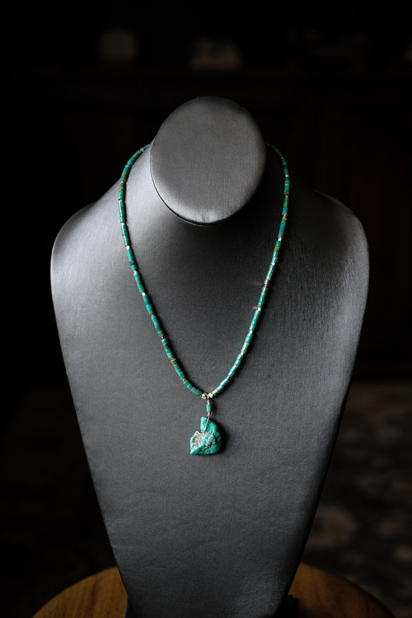 "1 Strand 18.75"" 4mm Green Turquoise Heishi, Santo Domingo Pueblo Drop + Sterling Silver Necklace"