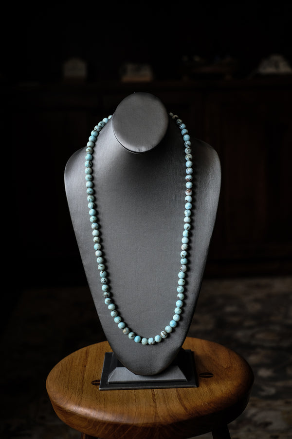 "1 Strand 30.5"" 10mm Larimar + Sterling Silver Necklace"