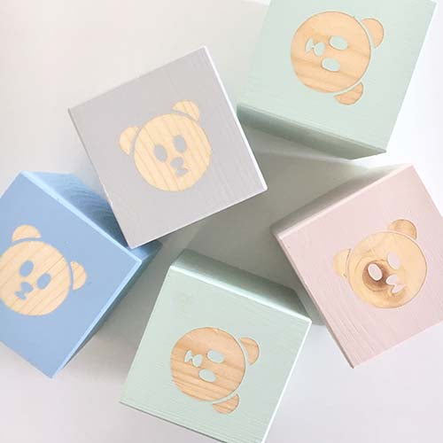 Bear Face - Personalised Baby Cube