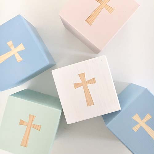 NEW BABY - Christening Cross personalised cubes