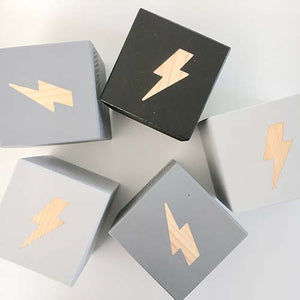 Lightning Bolt - Personalised Baby Cube Block