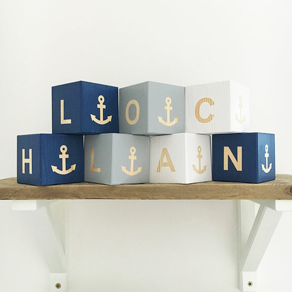 Personalised Baby Blocks - Nautical