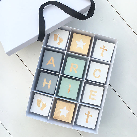 Luxury Christening Play Cube Box - Personalised Baby Cube Block