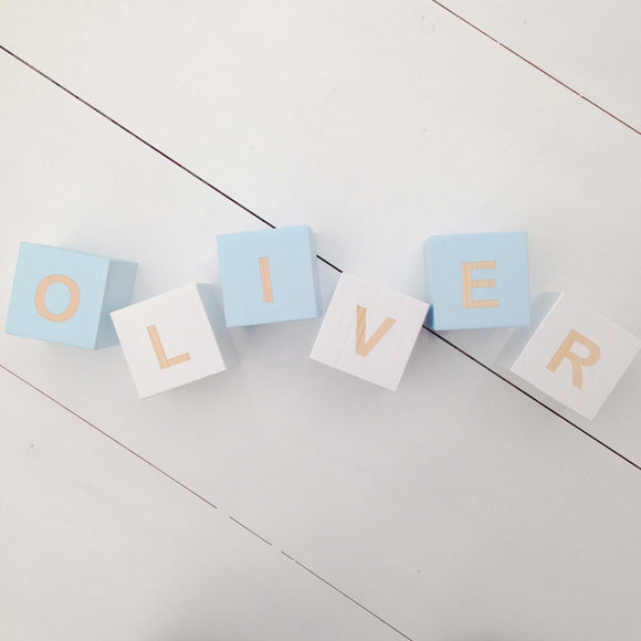 Pastel Blue & White - Personalised Cube Block