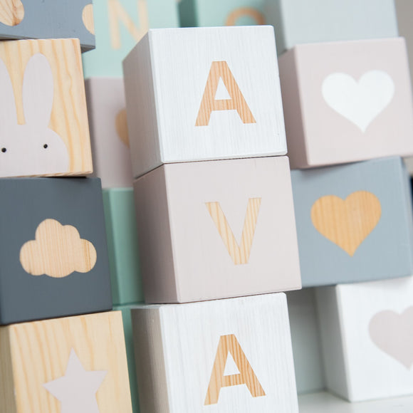 H - Personalised Baby Cube Block