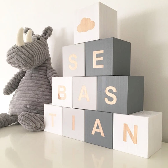 Dark Grey, Light Grey & White - Personalised Baby Cube Blocks