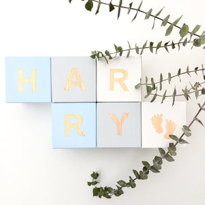 Pastel Blue, Light Grey & White - Personalised Cube Block