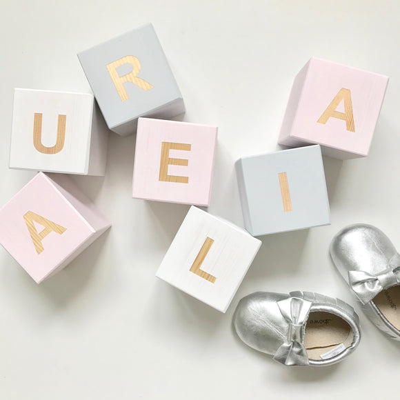 Pastel Pink, Light Grey & White - Personalised Cube Block