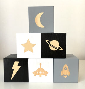 Kids Room Inspo - Outer Space Personalised Baby Cubes