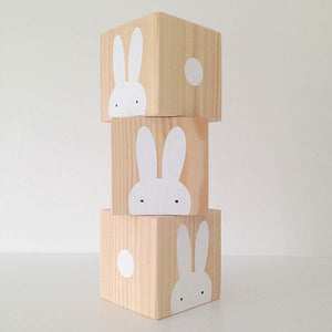 Wooden Rabbit Trio Personalised Baby Cubes