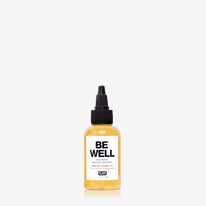 BE WELL Organic Body Wash travel size in front of white background