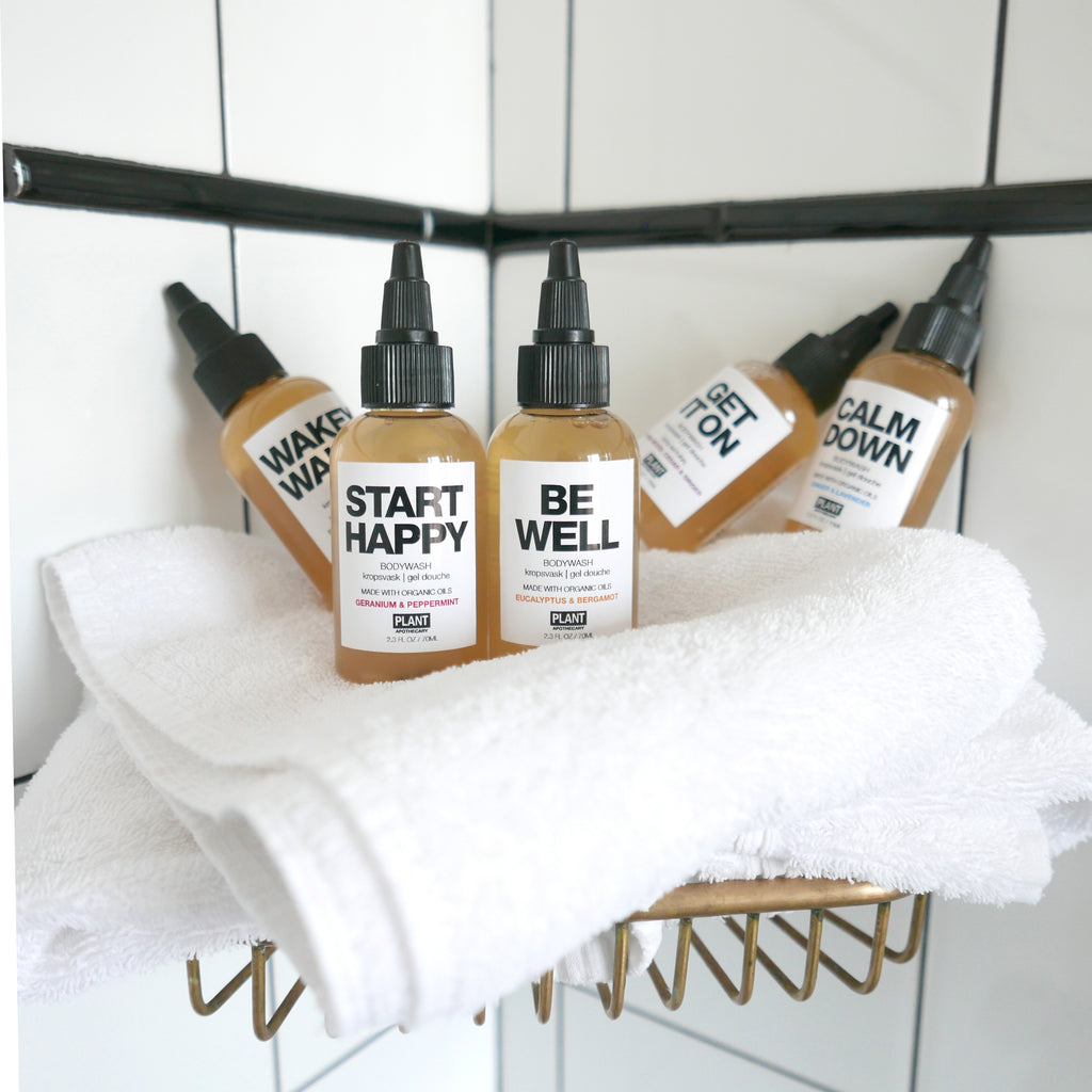 5 Travel Size Body Washes- Start Happy, Wakey Wakey, Calm Down, Be Well, and Get it On