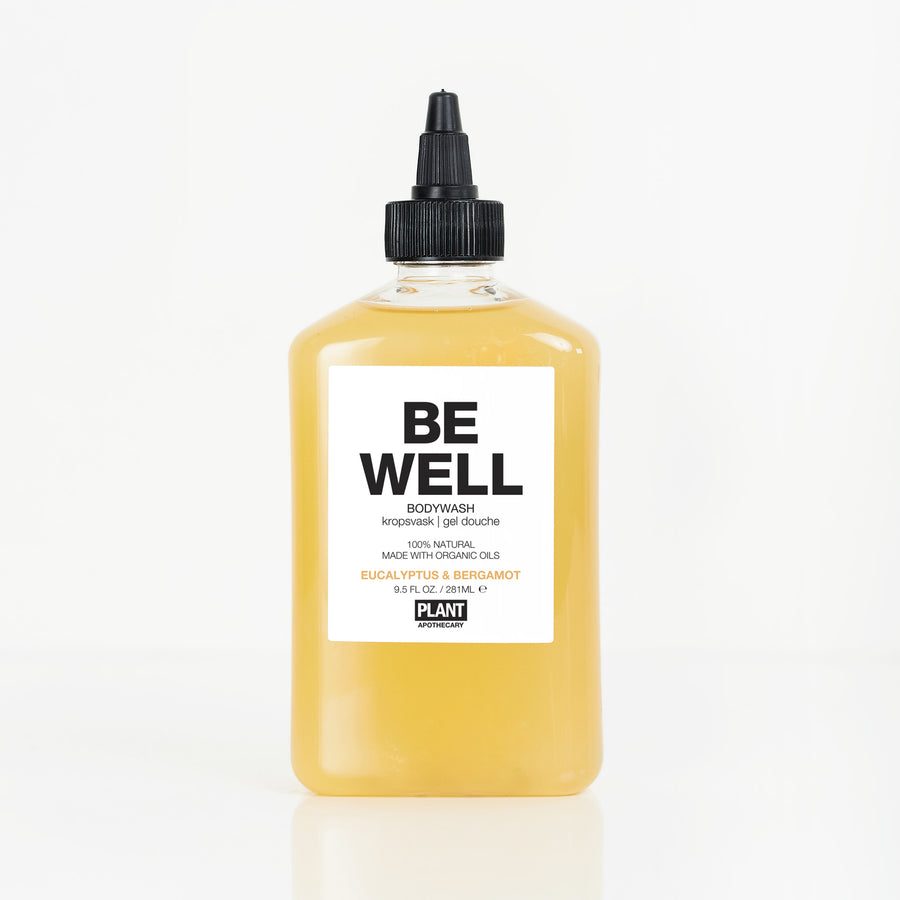 BE WELL Organic Body Wash in front of white background