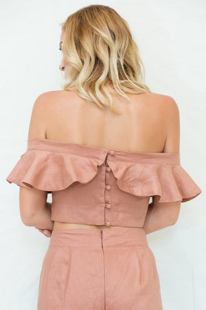 The Carina Offshoulder Ruffle Linen Top