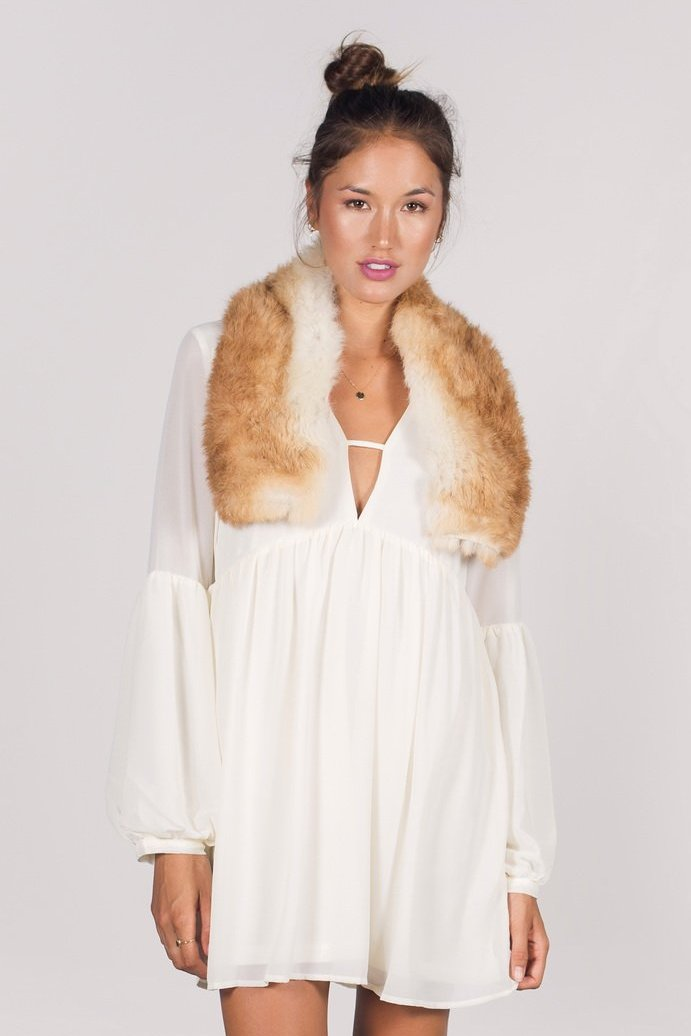The Purnama Rabbit Fur and Suede Shrug