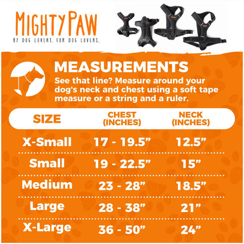 Mighty Paw Sport Dog Harness Measurements