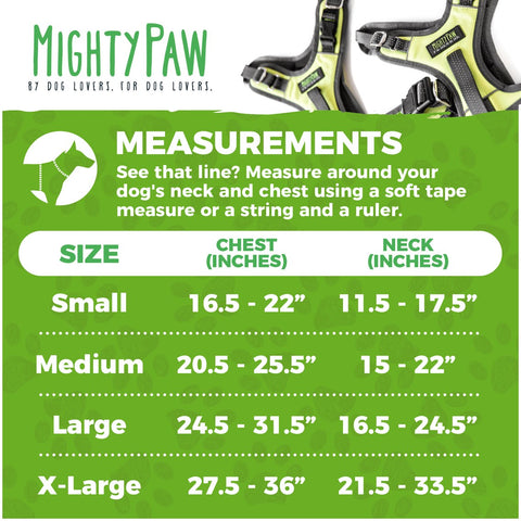 Measurements for the Mighty Paw Sport Dog Harness 2.0