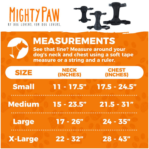 Mighty Paw Vehicle Safety Harness Measurements