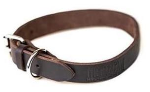 Mighty Paw Dark Brown Leather Dog Collar Distressed