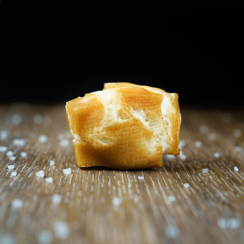 Mighty Paw Naturals - we turned the end of a Yak Cheese Dog Chew into a crunchy, delicious cheese puff