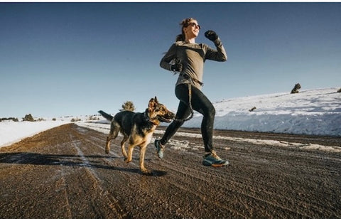 Running with a dog on the Mighty Paw Hands-Free Bungee Leash Set