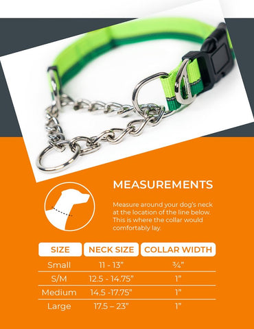 Sizing chart for Mighty Paw's Martingale Dog Collar 2.0