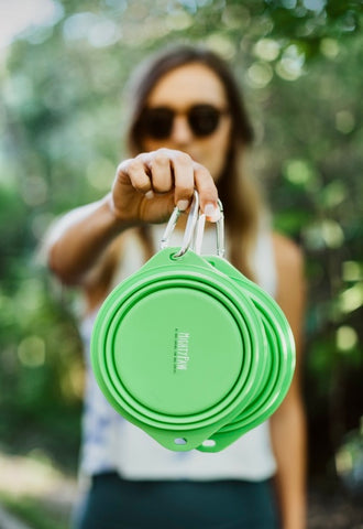 The Mighty Paw Collapsible Travel Dog Bowl comes as a set of 2