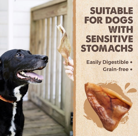 The Mighty Paw Naturals Pig Ears are suitable for dogs with sensitive stomachs because they're easily digestible and grain-free
