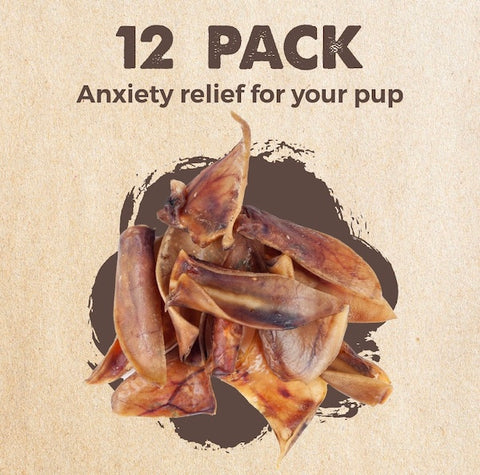 The Mighty Paw Naturals Pig Ears come in a 12 pack and offer anxiety relief for your pup
