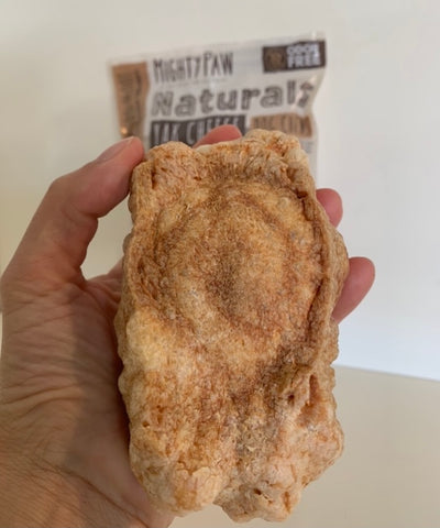 Mighty Paw Yak Cheese Dog Chew turned into a crunchy cheese puff