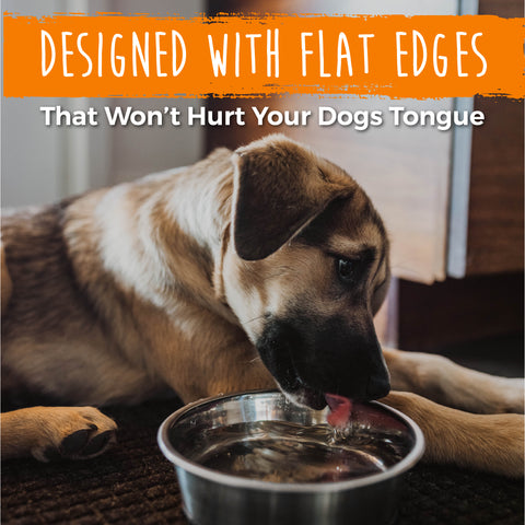The Mighty Paw Stainless Steel Dog Bowls are designed with flat edges that won't hurt your dog's tongue