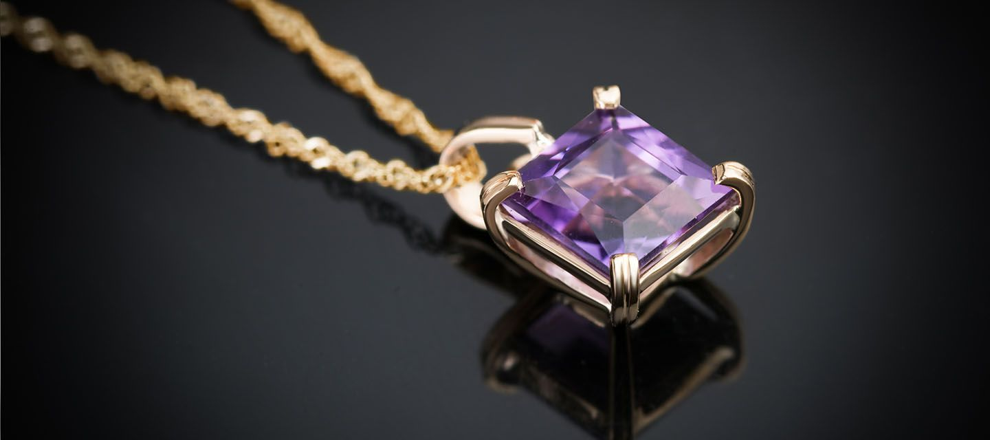 amethyst pendant in gold ame jewellery