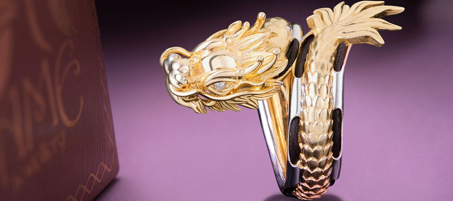 diamond dragon ring in gold ame jewellery