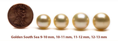 golden south sea pearl size
