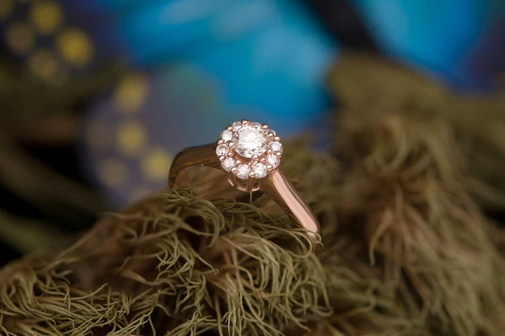 Natural Diamond Flower Gold Ring - AME Jewellery